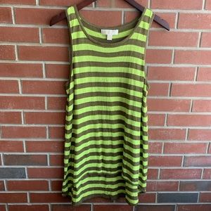 Michael Kors Green & Chocolate Brown Striped Top